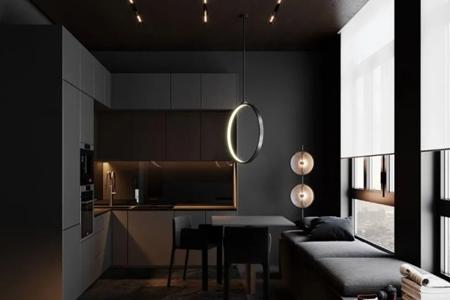 高级黑公寓设计,极简至奢的高级感,网友:爱了!