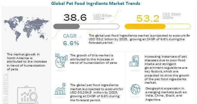 宠物食品市场 2025年,全球宠物食品配料市场规模预计将达到532亿美元