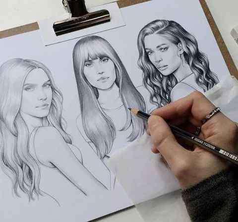 画头发 画人物最怕画头发了,一点点教你画头发!