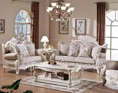 2012年最新欧式家具 2012最新款精致欧式实木布艺真皮沙发图片