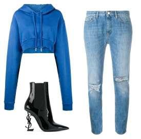 蓝色卫衣配什么颜色的裤子 蓝色卫衣配什么颜色裤子 打造时尚高街style