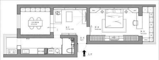 单身公寓平面图 58㎡单身公寓装修效果图 小公寓也可以这么装修的