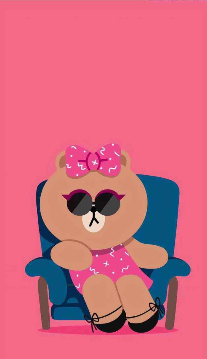 可爱壁纸手机粉色 可爱小熊动物拟人粉色少女手机壁纸图片