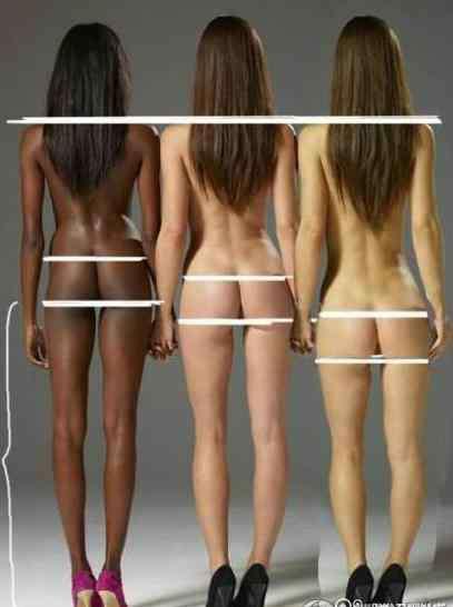 黄种人水多白人没水 黑人白人黄种人身材的区别,黑白黄种女性身材比例对比