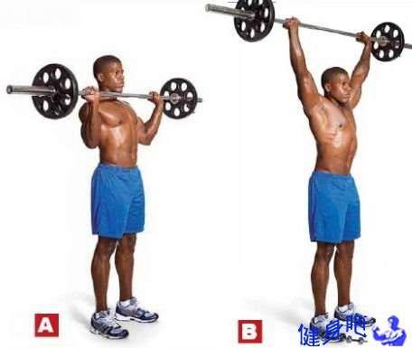 三角肌锻炼方法 三角肌锻炼方法 锻炼三角肌前束杠铃颈前推举动作详解教程