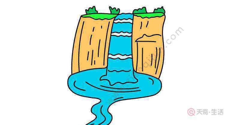 瀑布怎么画 瀑布简笔画怎么画  瀑布简笔画画法