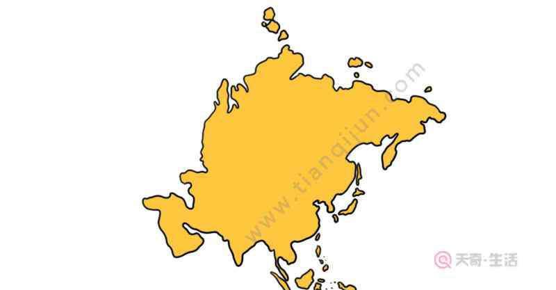 亚洲轮廓图 亚洲轮廓图简便画法  亚洲轮廓图怎么画