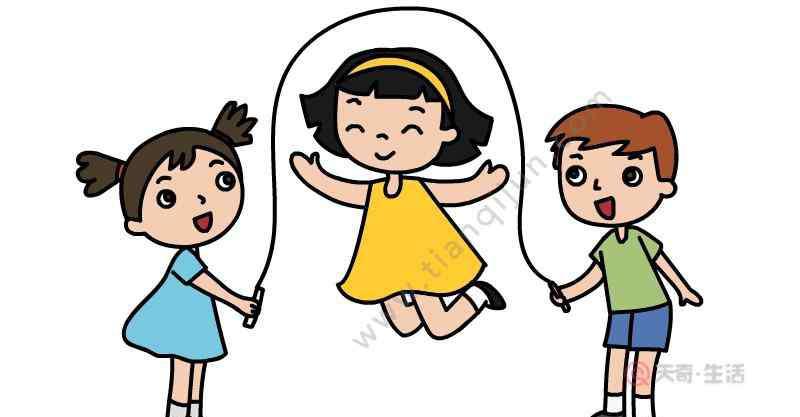 跳绳的简笔画 小朋友跳绳简笔画步骤  小朋友跳绳简笔画画法