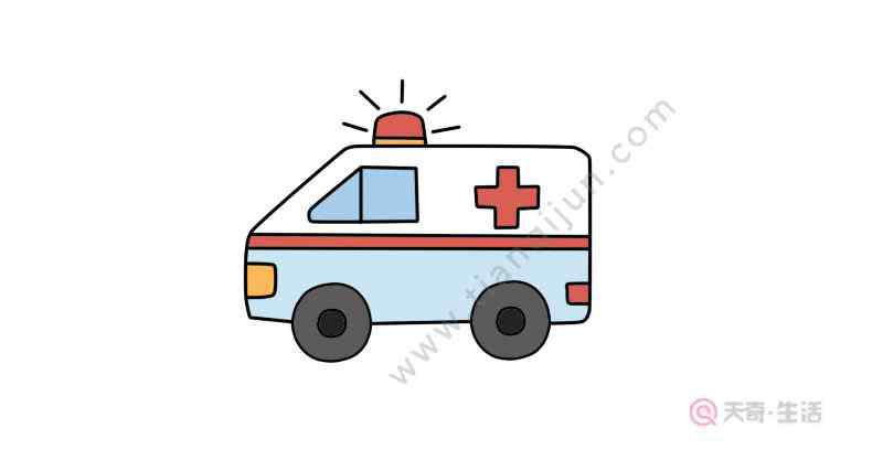 画救护车 救护车简笔画画法  救护车简笔画步骤