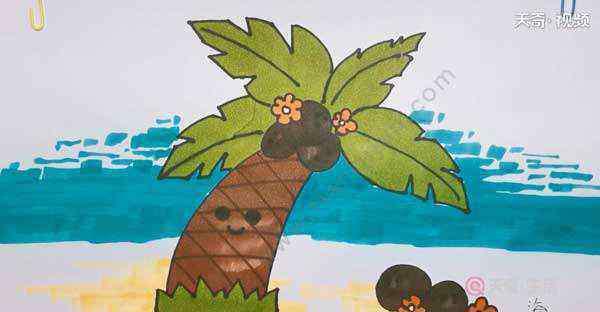 海滩简笔画 海边简笔画