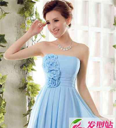 蓝色婚纱 蓝色婚纱适合新娘发型图片 梦幻蓝更显浪漫色彩