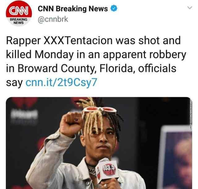普兰塔 xxxtentacion因枪杀去世,网友炸了!他的新专辑刚获得冠军专辑