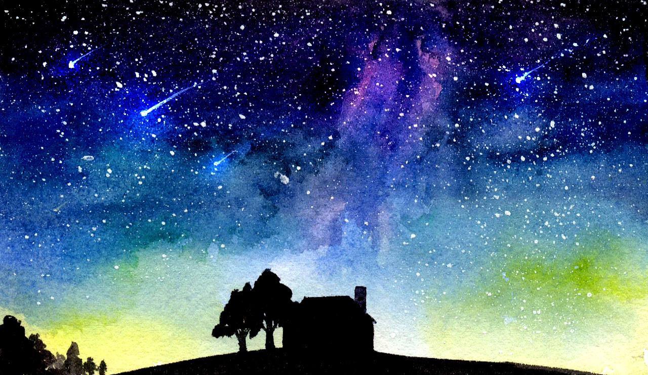 颜料画教程 零基础绘画教程-水彩《夜空》