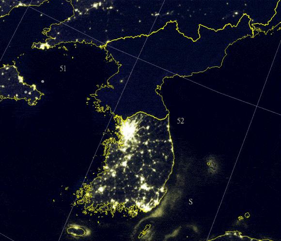 一张图就能看出朝鲜半岛南北的经济发展差异有多大