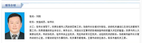 新疆克拉玛依市人民政府党组成员、秘书长刘刚接受组织审查