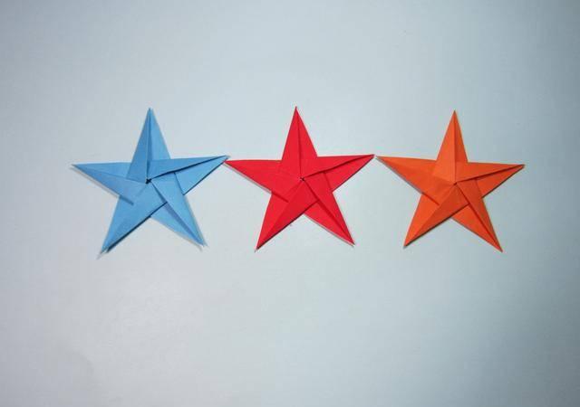 简单的手工折纸 五角星的折法步骤图解