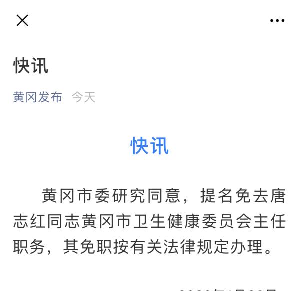 黄冈市卫健委主任唐志红被提名免职:面对督查组竟一问三不知