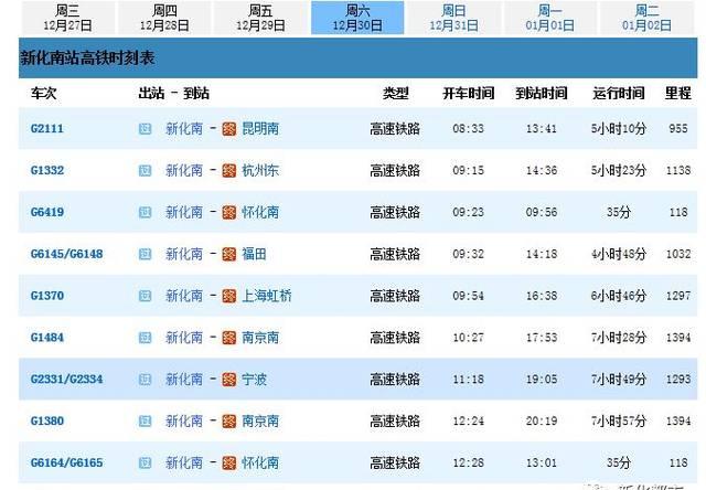 新化南站最新动车时刻表!