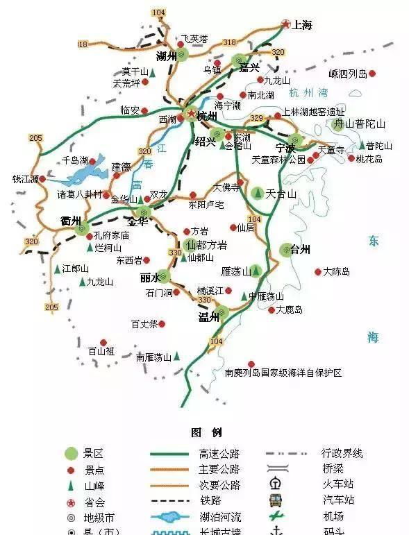 江浙沪旅游地图曝光,长三角原来还有这么多景点没去过!