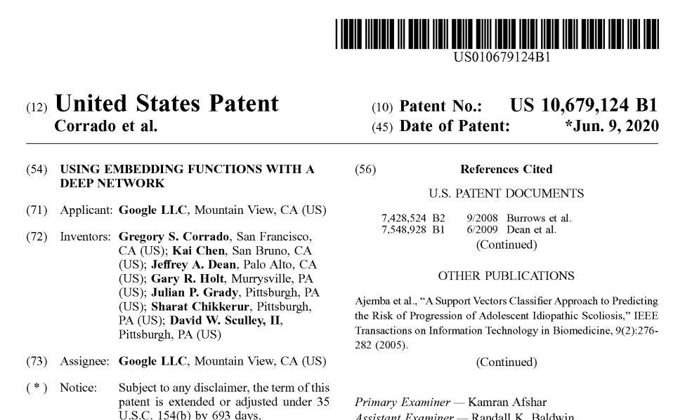谷歌网络嵌入函数新专利惹争议,网友:何时申请线性回归?