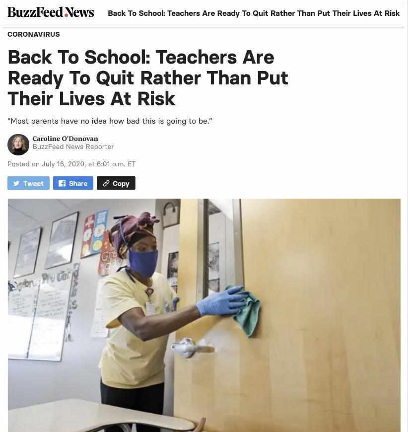 美国大量公立学校教师提出辞职